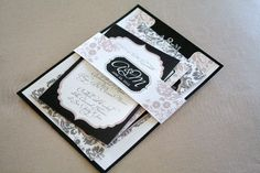 Damask Wedding Invitations with belly band