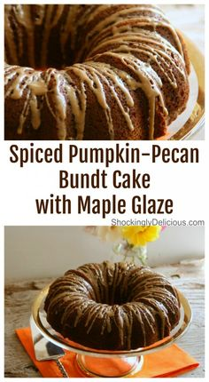 Spiced Pumpin-Pecan Bundt Cake with Maple Glaze is not overly sweet and well spiced with warm fall flavors. It's finished with a drizzle of Maple Glaze, and pretty perfect for whatever reason you need a fall-flavored cake! Pumpkin Waffles, Pumpkin Cookies, Pumpkin Dessert, Pumpkin Spice, Spiced Pumpkin, Pound Cake Recipes, Cupcake Recipes, Cupcake Cakes, Dessert Recipes
