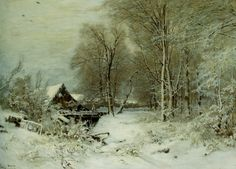 A Cottage in a Snowy Landscape by Louis Apol, Oil on Canvas
