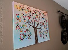 Vibrant Button Tree on Canvas- would love to make this, pretty