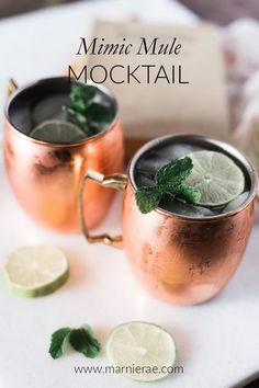 This Mimic Mule mocktail recipe is so easy. Made with lime juice, mint leaves, simple syrup and Ginger beer, its a fun addition to any party menu. Serve in Moscow Mule mugs and garnish with lime to put this mocktail over the top. Best Mocktail Recipe, Easy Mocktail Recipes, Ginger Beer Mocktail Recipe, Cocktail Recipes, Easy Mocktails, Non Alcoholic Cocktails, Mocktails Menu, Mocktail Bar, Mint Simple Syrup