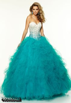 97086 Prom Dresses / Gowns Satin Ombre Beaded Bodice with Ruffled Tulle Ballgown Skirt Teal