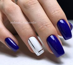 Electric Blue & White Nails With Silver Stripes