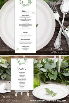 This refreshing green leaf theme wedding menu, seating plan and seating chart is part of our complete printable wedding stationery suite which includes editable templates for matching invitations and other DIY reception cards. This design will be perfect for rustic, greenery, garden, vintage, summer, winter, fall or spring floral romantic country wedding. To see more please visit www.timberwinkstudio.etsy.com #seatingchart #weddingseatingplan #seatingplan #weddingmenu #weddingprintables