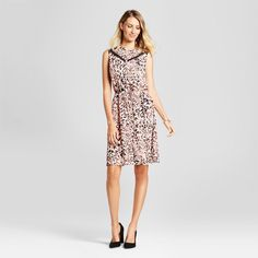 Women's Leaf Printed Tie Waist Dress with Lace Inset - Isani for Target Black/Coral/Cream XS