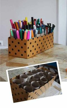 Get an old shoe box decorate it get toilet paper rolls or paper towel rolls cut up place them in the shoe box, instant pen organizer. For pens, pencils, markers, etc.