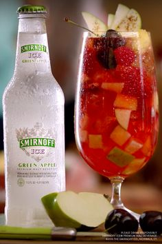For a beverage that will please the whole party, look no further than this Smirnoff ICE Playoff Preparada! Pour Smirnoff ICE Green Apple in a pitcher over delicious chopped fruit. Rim the glass with chili lime salt and add a dash of it and Chamoy. A sweet and spicy drink with fruit on fruit on fruit - a fruit salad drink!
