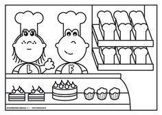 Frokkie en Lola als bakker School Coloring Pages, Coloring Pages For Girls, Colouring Pages, Community Workers, Community Helpers, Fake Food, Food Themes, Save Image, Children's Place