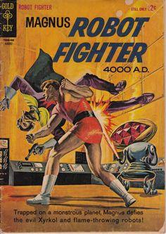 Magnus Robot Fighter #7, agosto de 1964 tema - Gold Comics claves -Arte de Russ Manning