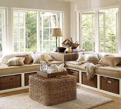Sunroom idea: using daybeds for seating.