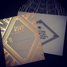 Launch party. Ellington Art Deco Wedding Invitations, perfect for a Great Gatsby themed wedding.