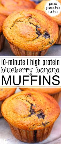 Use up those bananas and fresh or frozen blueberries. Great recipe! Blueberry-Banana Muffins take just 10 minutes to mix up, they're Paleo, Gluten-free and Nut-free! Awesome for snacks, breakfast, or alongside any meal. || Eat Beautiful | paleo blueberry muffins | paleo banana muffins | healthy muffin recipe | gluten-free blueberry banana muffins | nut-free | #blueberry #muffins Paleo Blueberry Muffins, Healthy Banana Muffins, Gluten Free Blueberry, Healthy Muffin Recipes, Blue Berry Muffins, Banana Recipes, Protein Muffins, Breakfast Healthy, Protein Recipes