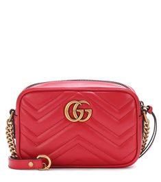 0f6122a6fcb4e GG Marmont Mini red matelassé leather crossbody bag Leder