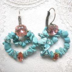 Swarovski crystal × Turquoise bijou pierced | La Belle Mer