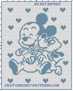 Baby Mickey and Pluto happy baby blanket filet crochet – free filet crochet patt… – Değiştiriniz Bobble Crochet, Baby Afghan Crochet, Crochet Blanket Patterns, Free Crochet, Cross Stitch Patterns, Crochet Geek, Filet Crochet Charts, Crochet Diagram, Knitting Charts