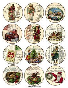 Collage digital de Hoja de la Navidad de la vendimia párr imprimir ETIQUETAS de 300dpi