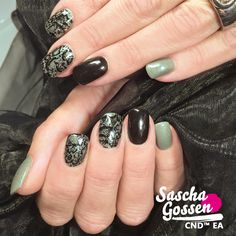 Colour, black and stamped nails