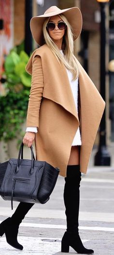camel draped coat