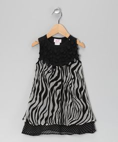 Black Zebra Double Layer Dress - Toddler & Girls