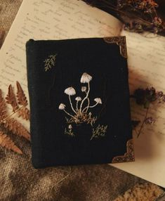 Witch Aesthetic, Book Aesthetic, Aesthetic Indie, Embroidery Art, Embroidery Designs, Bulletins, Handmade Books, Book Binding, Book Of Shadows