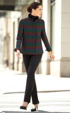 14073 Stripe Wool Swing Jacket