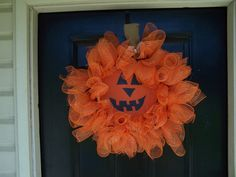 Jack o Lantern Curly Deco mesh wreath. $40.00, via Etsy.