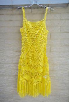 Handmade Crochet Vest Dress Short Summer by Tinacrochetstudio