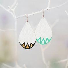 white drops shape leather earrings mint green/ black von GRABGRAB, $12.00