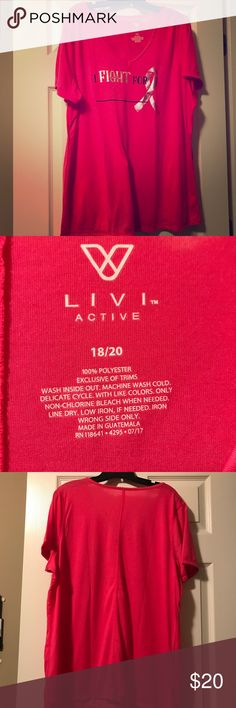 NWOT Livi Active Breast Cancer Awareness tee A LIVI Active graphic tee with foiled accents and a fill-in-the-blank line for you to personalize. V-neck. Soft and a lovely bold fuchsia(pink) color! Livi Tops