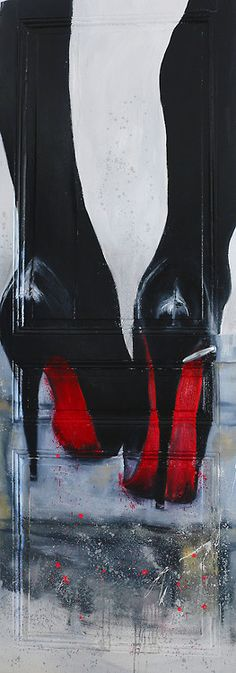 Louboutin - oil on wood and spray paint on the door /face A by Henry Hang, Paris