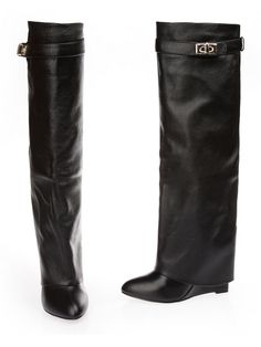 Leather Wedge Knee Boots - (clon of Givenchy)
