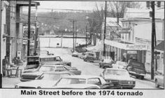 Main Street in Brandenburg, KY (heading downhill to the Ohio River), prior to the destructive 1974 tornado..