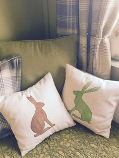 Sharpie cushion covers. Printed hare stencils and coloured on plain fabric using a sharpie. Hand stitched the outline and machine sewed a basic envelope cushion cover.