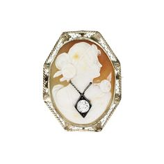 Pre-owned 14K White Gold Shell Cameo Diamond Pin ($1,095) ❤ liked on Polyvore featuring jewelry, brooches, pin jewelry, 14k gold jewelry, diamond jewelry, white gold jewelry and pandora jewelry