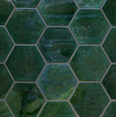 Deep green tile honeycomb                                                                                                                                                                                 More #tilebathrooms