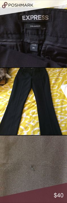 Black dress pants Black columnist size 2R dress pants. On one of the pictures there is a tiny pull.  They are sort of boot cut. But not flare. I am open to offers. Express Pants Boot Cut & Flare
