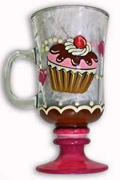 Cupcake Hand Painted Glass Pattern Packet by Jillybean Fitzhenry - Jillybean.net