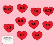Valentine Equivalent Fractions and Decimals SMART BOARD Game