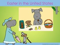 """Happy Easter from the United States!  In Easter in the United States or Pepper and Bunny Celebrate"""" Pepper helps students learn how and why Easter is celebrated in the United States.  Pepper is observing Holy Week and Easter Week.  These two weeks celebrate the last few days of the life of Jesus Christ and His resurrection."""