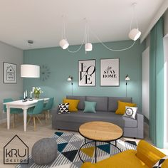 Discover recipes, home ideas, style inspiration and other ideas to try. Mint Living Rooms, Grey And Yellow Living Room, Living Room Turquoise, Classy Living Room, Living Room Decor Colors, Colourful Living Room, Living Room Color Schemes, Living Room Paint, Home Living Room