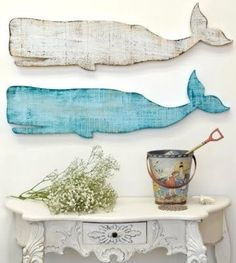 Whale Silhouette - eclectic - artwork - Cottage & Bungalow - We have seen lots of whales in Hawaii! Similar effect but smaller with Cardboard shapes and paint effect? Beach Cottage Style, Coastal Cottage, Coastal Homes, Coastal Style, Beach House Decor, Coastal Living, Coastal Decor, Lake Cottage, Seaside Decor