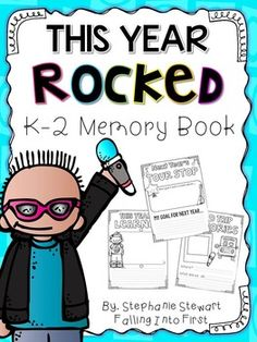 End of the year Memory Book with a Rock star theme! First grade, Second grade, Kindergarten, and (by request) Third Grade can all find the best pages for them in this memory book. Handwriting lines options have been included for and for print & go pages. End Of School Year, End Of Year, First Grade, Second Grade, Grade 1, 5th Grade Graduation, Graduation Ideas, Rock Star Theme, Handwriting Lines