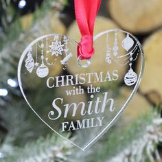 Christmas With the (your Family name) Heart Shaped Bauble , Personalised Engraved Christmas Tree Ornament/Decoration In Clear Glass Acrylic