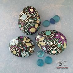 One-of-a-Kind Hand Painted River Rocks - Mandala Inspired Design with floral accents - perfect natural accent for home or office. ethereal & earth - otherworldly & of this world creations. FREE Shipping in the USA.