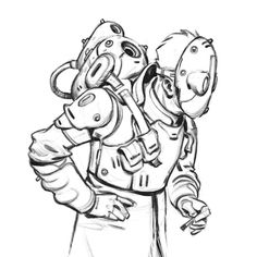 A little doodle...   #sketch #practice #study #rocketeer #spaceman #retro #steampunk #people #digitalart #conceptart #illustration #kidlitart #design