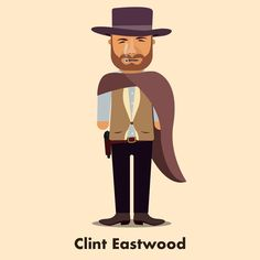 Clint Eastwood as a flat characters. Create by Morten Marcos