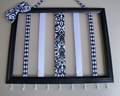 Picture frame hair bow holder and headband organizer, 11x14 hair accessories organizer, hair clip holder, black and white girls room decor on Etsy, $33.86 CAD
