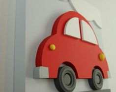 Items similar to Wood Car Wall Art for Kids, Red Car Transportation Baby Nursery and Kids Room Decor on Etsy Car Wall Art, Wood Wall Art, Kids Wall Decor, Room Decor, Nursery Decor, Art Mural 3d, Wood Toys, Kids Bedroom, Room Kids