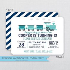Train Locomotive Birthday Invitation - DIY - Instant Download & Editable File - Personalize at home with Adobe Reader