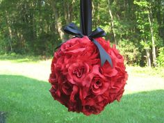 Flowers, Reception, Ceremony, Purple, Red, Bouquet, Decor, Bridesmaids, Black, Gold, Bridesmaid, Girl, Aisle, Pomanders, Balls, Kissing